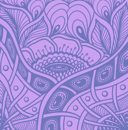Background with Zen tangle or Zen doodle flowers pattern in lilac or for wallpaper or for packed something Illustration