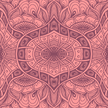 Seamless pattern with Zen tangle or Zen doodle flowers in pink or for wallpaper or for packed something Illustration
