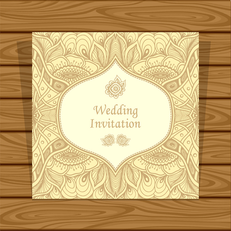 Wedding invitation with Zen tangle or Zen doodle flowers in beige colors or Creative Post Card for married or for packed something