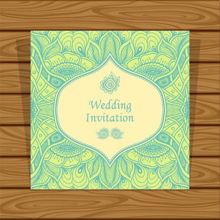 Wedding invitation with Zen tangle or Zen doodle flowers in green beige colors or Creative Post Card for married or for packed something
