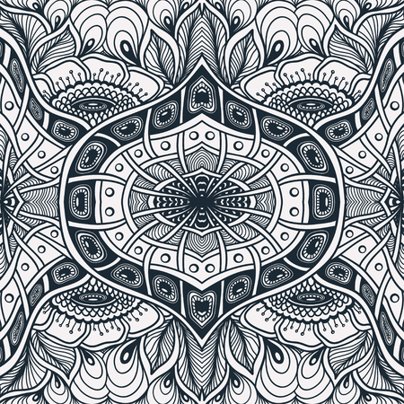 Seamless pattern with Zen tangle or Zen doodle flowers in black white for relax coloring page or adult coloring books or for wallpaper or for packed something