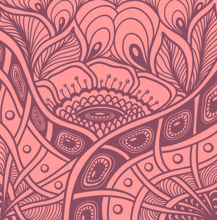 Background with Zen tangle or Zen doodle flowers pattern in pink or for wallpaper or for packed something Illustration