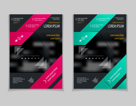 Set template of flyers or brochures or book or magazines covers with blur image and cut paper effect on black background Illustration