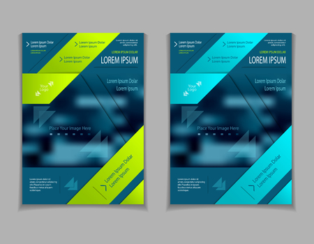 Set template of flyers or brochures or book or magazines covers with blur image and cut paper effect on dark blue marine background Illustration