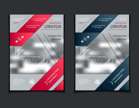 Set template of flyers or brochures or book or magazines covers with blur image and cut paper effect on grey background