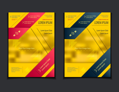 Set template of flyers or brochures or book or magazines covers with blur image and cut paper effect on yellow background
