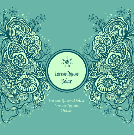 Template frame with unique Doodle elements in vintage handmade style in marine blue colors for advertising cosmetic perfume or for package Illustration