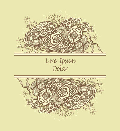 Template frame with unique Doodle elements in vintage handmade style in beige colors for advertising cosmetic perfume or for package