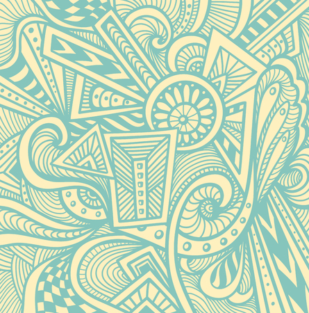 Abstract pattern in Zen tangle or Zen doodle style in beige light blue for wallpaper or for packed something or for clothes or for cosmetic perfume or for web or for techno background