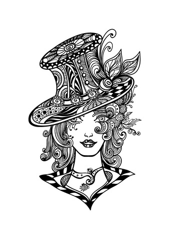 Girl in hat in Zen-doodle or Zen-tangle decorative l style black on white Illustration