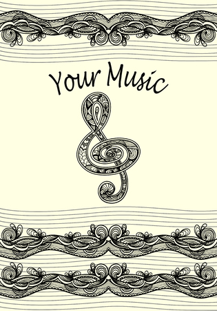 decorate notebook: Treble clef notes musical stanza with Zen-tangle ornament black on white