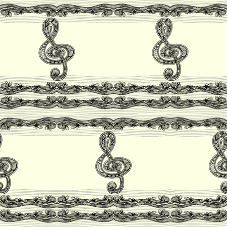 Seamless pattern with Treble clef notes musical stanza in Zen-tangle style black on white