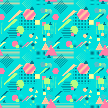 Abstract seamless pattern in postmodern Memphis Style on blue Illustration