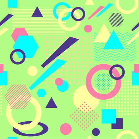 postmodern: Abstract seamless pattern in postmodern Memphis Style on light green Illustration