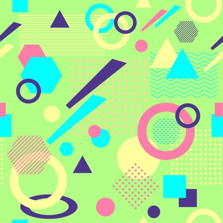 Abstract seamless pattern in postmodern Memphis Style on light green Illustration