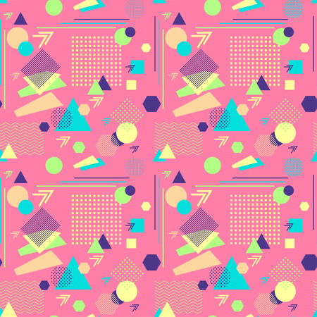postmodern: Abstract seamless pattern in postmodern Memphis Style on pink