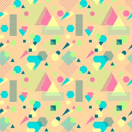 postmodern: Abstract seamless pattern in postmodern Memphis Style on beige Illustration