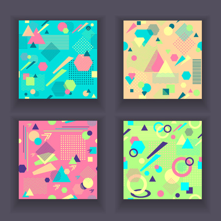 postmodern: Set Abstract seamless patterns in postmodern Memphis Style