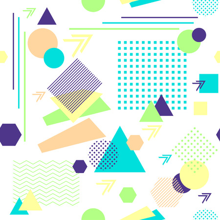 postmodern: Abstract seamless pattern in postmodern Memphis Style on White Illustration