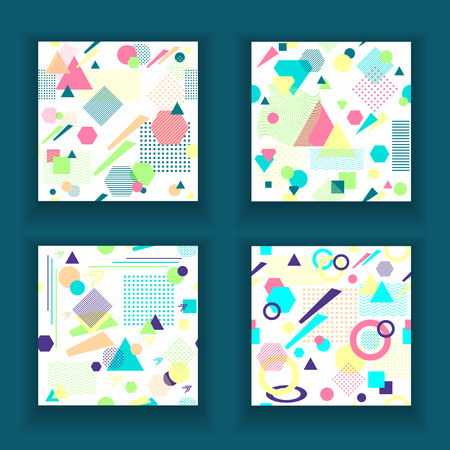 postmodern: Set Abstract seamless pattern in postmodern Memphis Style on White