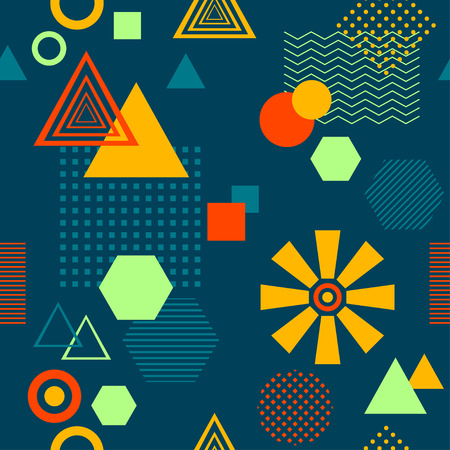 Abstract seamless pattern in postmodern Memphis Style on dark blue Illustration