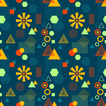 postmodern: Abstract seamless pattern in postmodern Memphis Style on dark blue Illustration