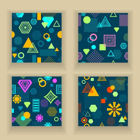postmodern: Set Abstract seamless pattern in postmodern Memphis Style on dark blue
