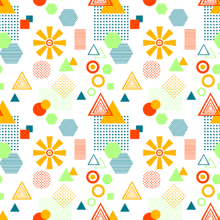 Abstract seamless pattern in postmodern Memphis Style on White Illustration