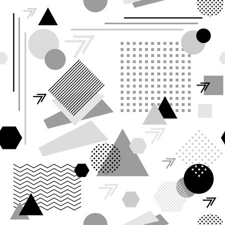 postmodern: Abstract seamless pattern in postmodern Memphis Style black grey on white Illustration