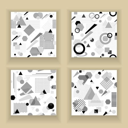 postmodern: Set Abstract seamless pattern in postmodern Memphis Style black grey on white Illustration