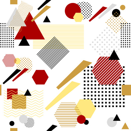 postmodern: Abstract seamless pattern in postmodern Memphis Style white black red beige Illustration