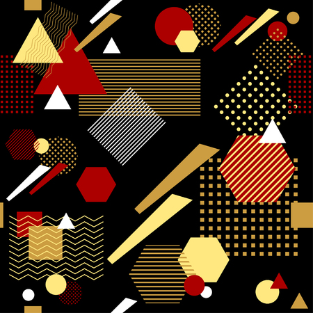 Abstract seamless pattern in postmodern Memphis Style black gold red
