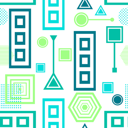 postmodern: Abstract seamless pattern in postmodern Memphis Style blue green on White Illustration