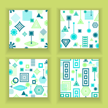 postmodern: Set Abstract seamless patterns in postmodern Memphis Style blue green on White