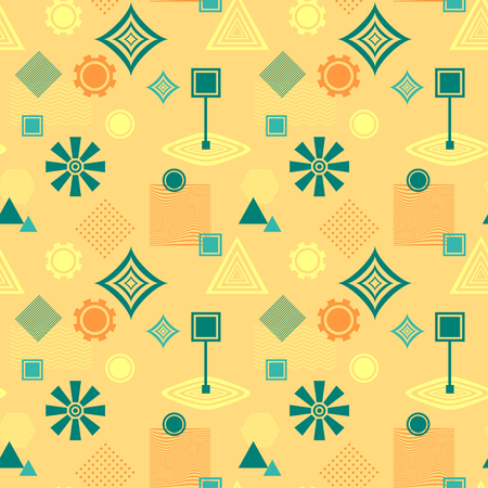 postmodern: Abstract seamless pattern in postmodern Memphis Style blue green on yellow beige