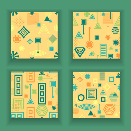 postmodern: Set Abstract seamless patterns in postmodern Memphis Style blue green on yellow beige