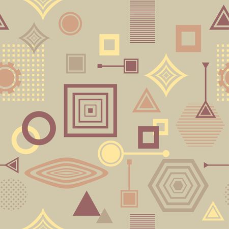 postmodern: Abstract seamless pattern in postmodern Memphis Style in coffee colors