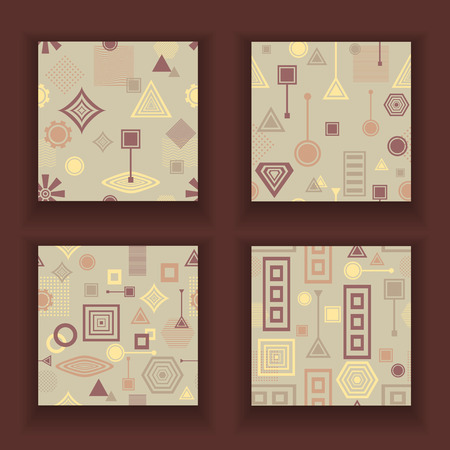 postmodern: Set Abstract seamless patterns in postmodern Memphis Style in coffee colors