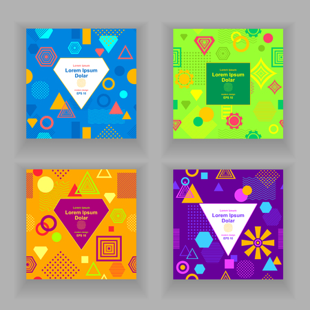 postmodern: Set Template flyers or frames with Abstract pattern in postmodern Memphis Style