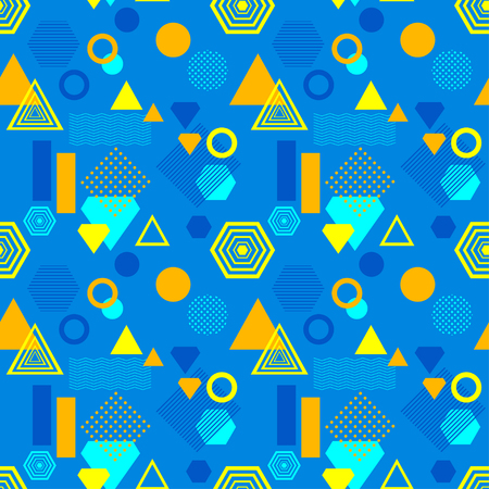 Abstract seamless pattern in postmodern Memphis Style blue yellow orange