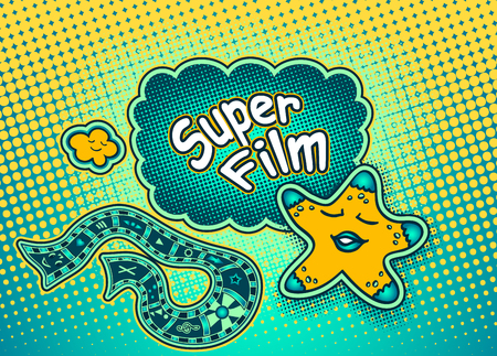 Doodle star in pop art cartoon comic retro style pointing on Speech bubble with halftone and inscription