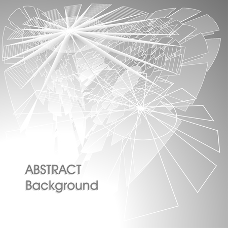 Abstract digital futuristic universal background in gray silver colors with lines polygons abstract umbrella or world web