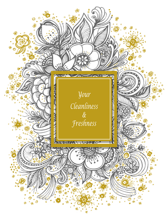 Template with abstract flowers bouquet in beige gray on white background composition for perfume or for cosmetic shampoo soap or for advertising hygiene products purity freshness Illustration