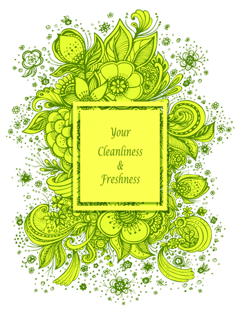 Template with abstract flowers bouquet in green yellow on white colors composition for perfume or for cosmetic shampoo soap or for advertising hygiene products purity