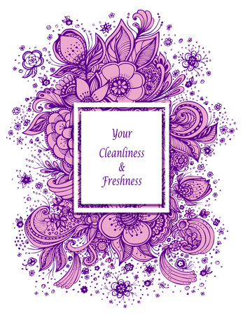 Template with abstract flowers bouquet tin lilac on white background composition for perfume for cosmetic shampoo soap or for advertising hygiene products purity freshness
