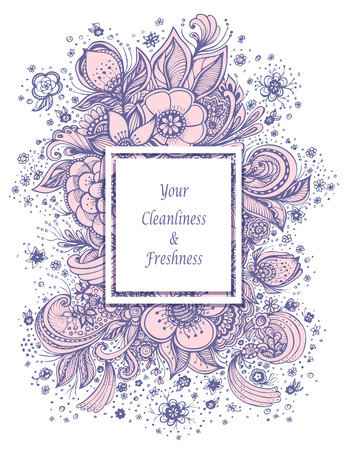 Template with abstract flowers bouquet in pink gray on white background composition for perfume for cosmetic shampoo soap or for advertising hygiene products purity freshness