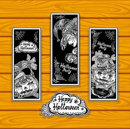 Set creative bookmarks for coloring on Halloween with pumpkins witch black and white or creative stickers or for banners