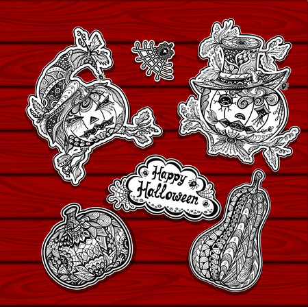 Set, bookmarks, creative, coloring, Halloween, party, owl, skull, witch, hat, spider, web, internet, site, black, white, stickers, banners, gift, celebrate, holiday, invitation, congratulation, line art, Zen -doodle style, handmade, trend, coloring page,