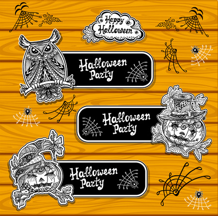 Set creative bookmarks or banners for coloring on Halloween with pumpkins owl black and white or creative stickers