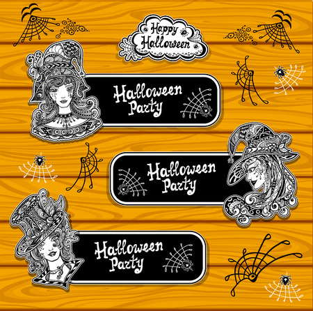 Set creative bookmarks or banners for coloring on Halloween with witches black and white or creative stickers